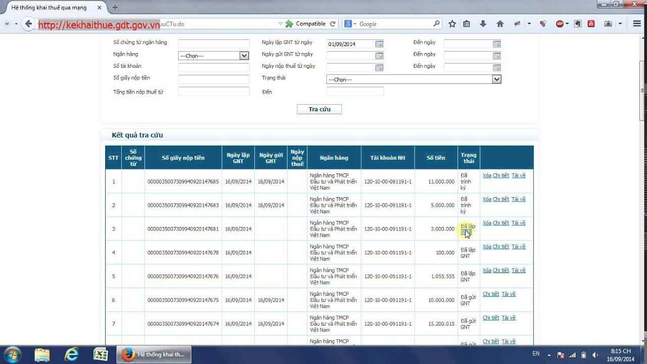 Nộp thuế điện tử – Tra cứu giấy nộp tiền