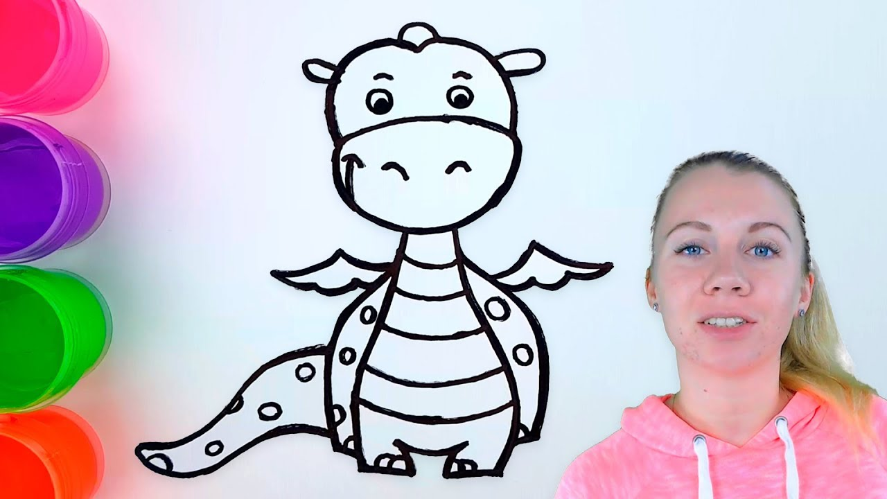 Cute Dragon Coloring Pages - How to Draw a Cute Dragon - YouTube