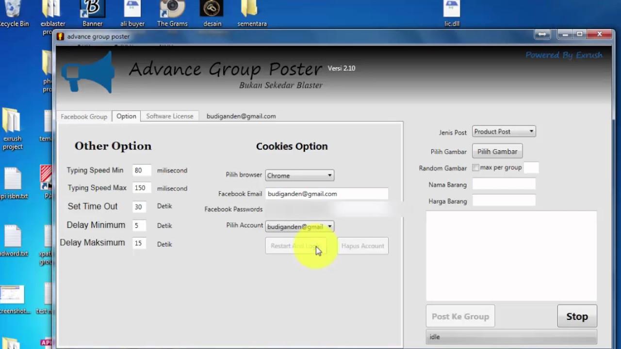 Setup facebook account di software facebook marketing advance group poster