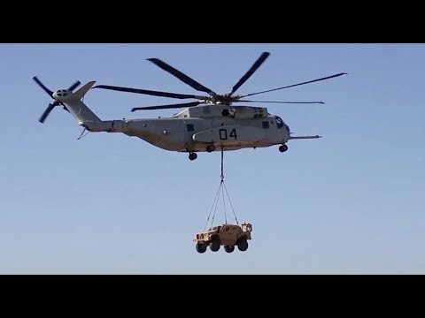 USMC CH-53K King Stallion lifts Joint Light Tactical Vehicle JLTV