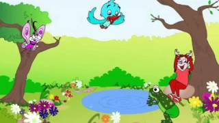 Little green frog and blue bird song   English for kids Nursery Rhymes  English lively songs DownTub