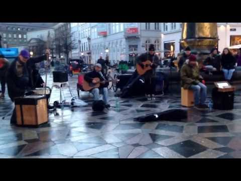 Musical band singing country songs ( Copenhagen Walking Street )