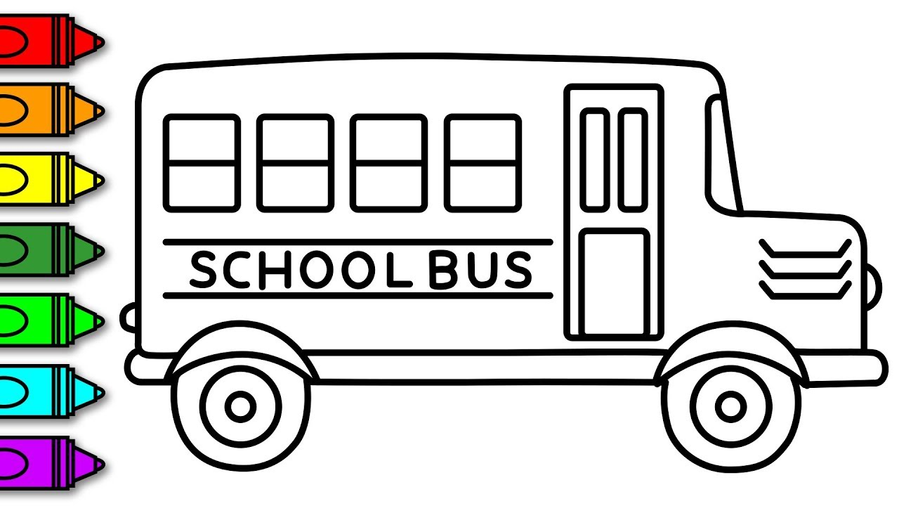 HOW TO DRAW AND COLOUR A SCHOOL BUS