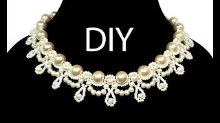 """Jewelry ❤ DIY: beaded wedding vintage necklace with pearls / Свадебное колье из бисера """"Жемчужина"""""""