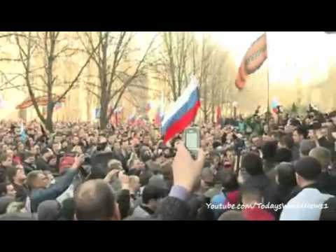 Pro-Russia demonstrators storm security service offices in Donetsk