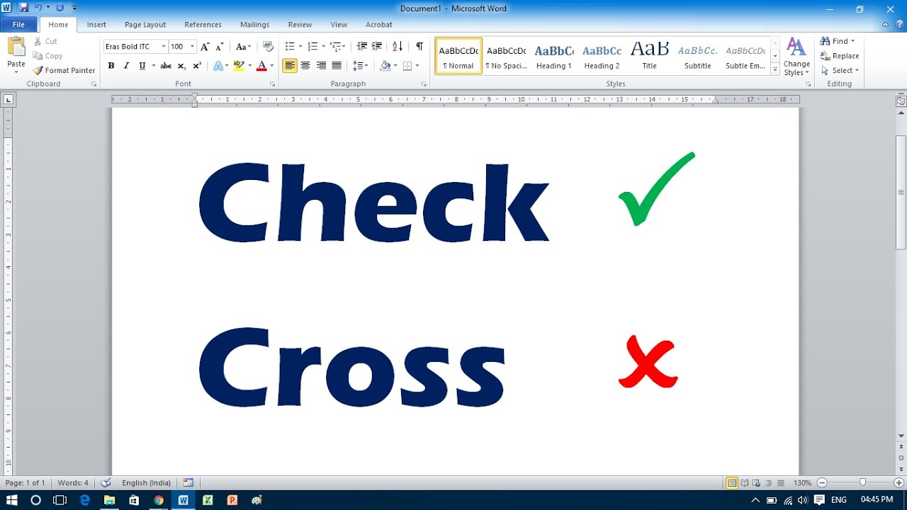 How To Insert Tick Mark In Ms Word 2010 Youtube