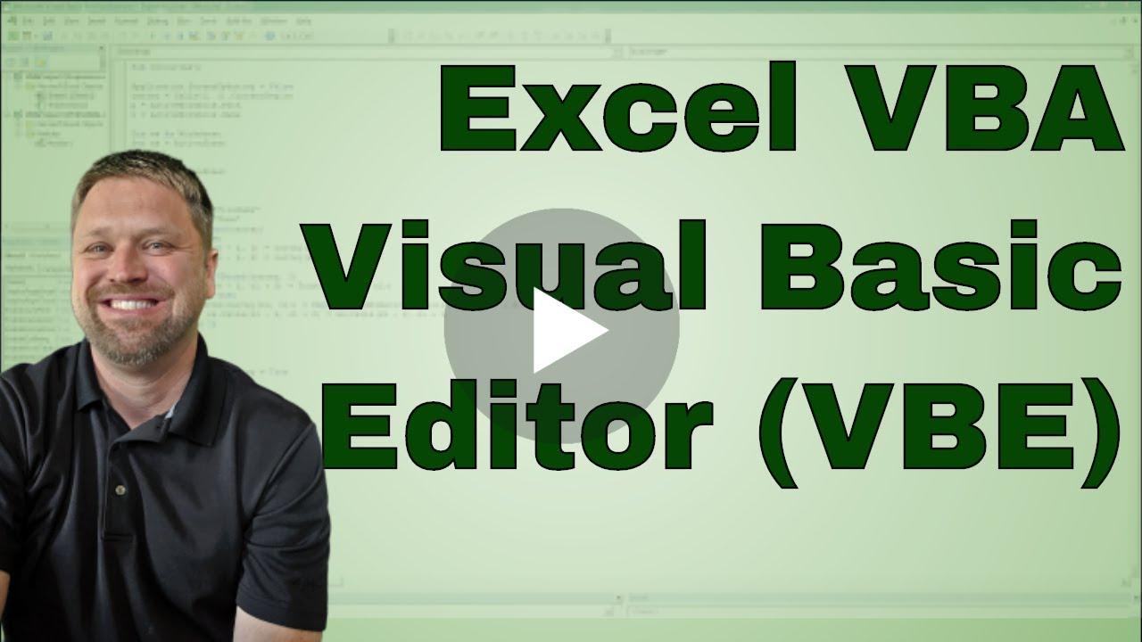 Excel VBA Visual Basic Editor (VBE)