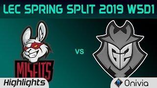 MSF vs G2 Highlights LEC Spring Split 2019 W5D1 Misfits Gaming vs G2 Esports By Onivia