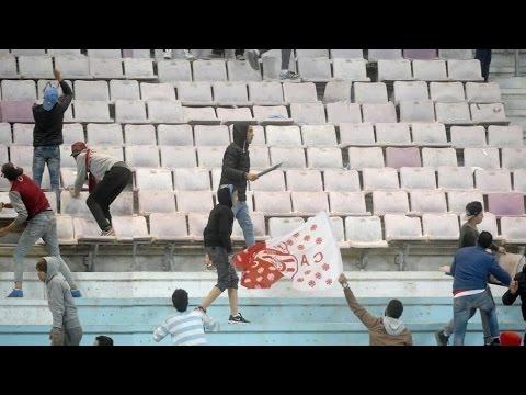 Club Africain Tunis - Paris SG Clash between CA Fans in stadium