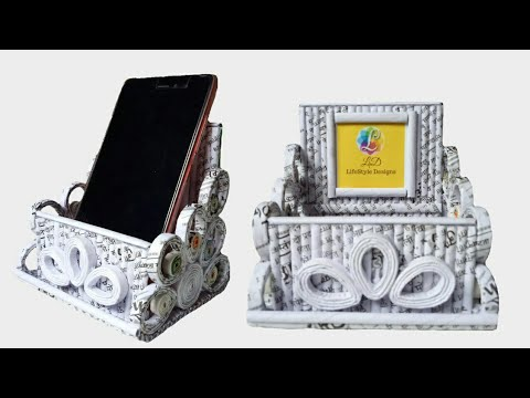 How To Make A Mobile Hoder with Magazine newspaper and Fevicol  Unique2