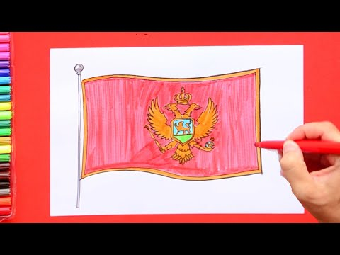 How to draw and color National Flag of Montenegro