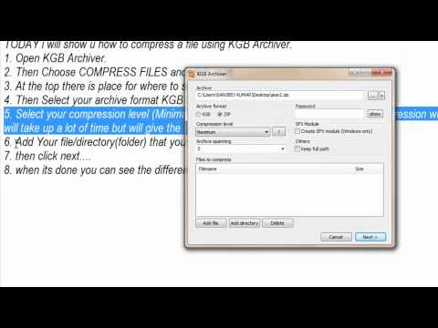 How to compress a file using KGB Archiver (HD)