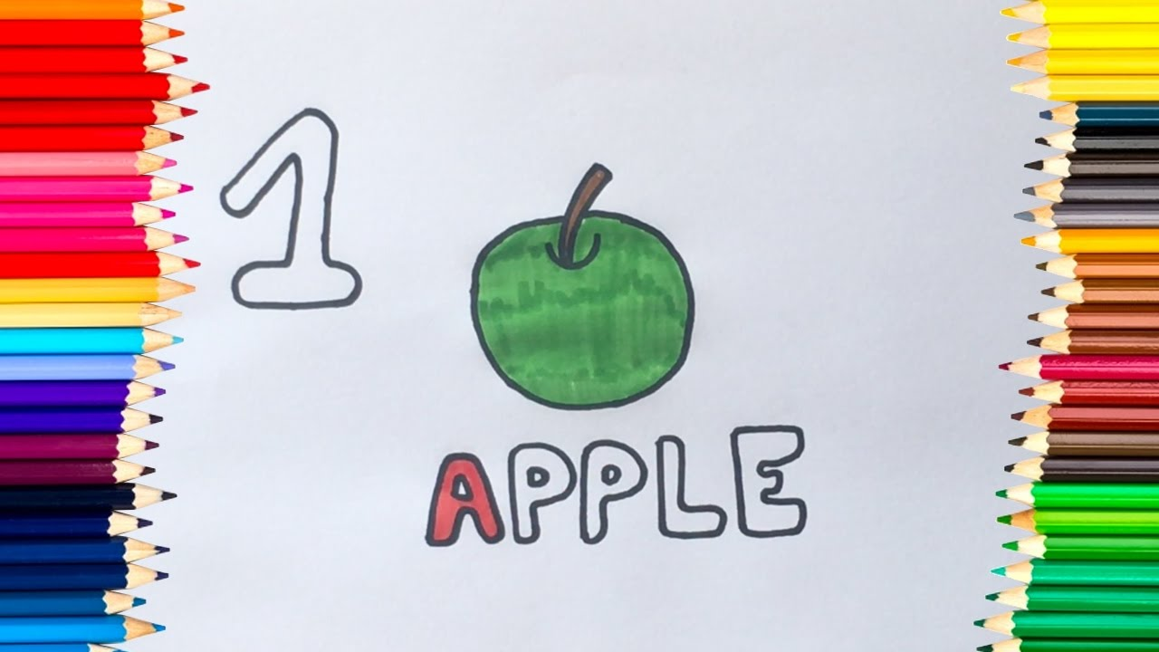 Learning numbers by Drawing and Coloring fruits and vegetables ...