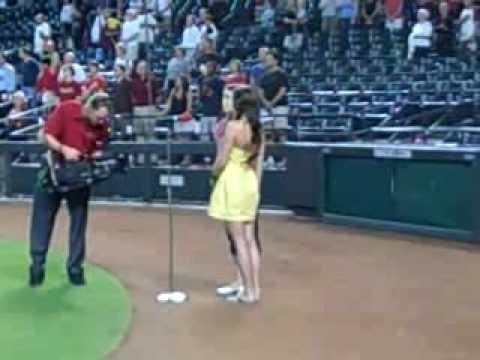 Kami & Trista - Singing the National Anthem