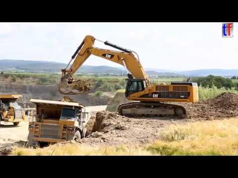 **HUGE** Caterpillar 385C LME Loading 775D & 775G Dump Trucks, Germany, 2014.