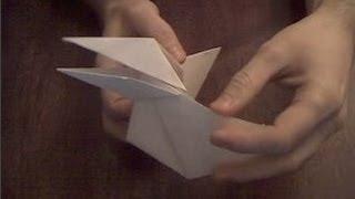 Каркающая ворона из бумаги оригами  Crow Paper Origami
