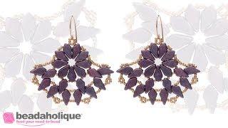 How to Make the Polynesian Palms Earrings using 2 Hole Czech Glass Kite Beads and Toho Seed Beads