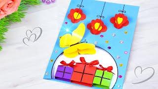 Открытка на День Рождения с Подарками своими руками! Как сделать подарок Маме из бумаги