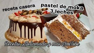 PASTEL DE MOKA ENVINADO, 3 LECHES, RECETA CASERA/ PASO A PASO PARA PRINCIPIANTES.