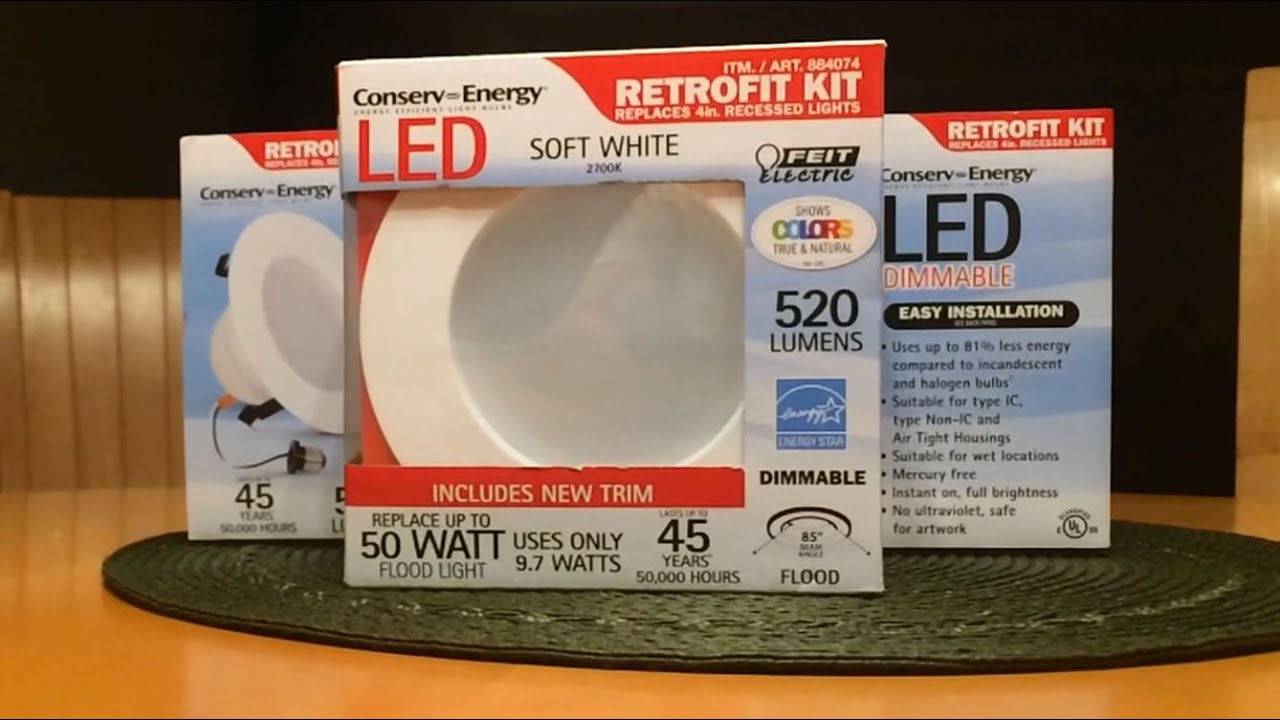 Installation & Review FEIT LED Recessed Light Retrofit Kit - YouTube
