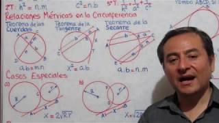 Relaciones Métricas en Triángulos Rectángulos y Circunferencias Ejercicios Parte 1.