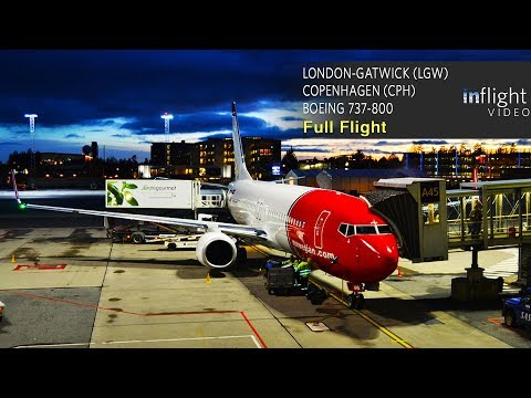 Norwegian Full Flight | London-Gatwick to Copenhagen | Boeing 737-800 (with ATC)