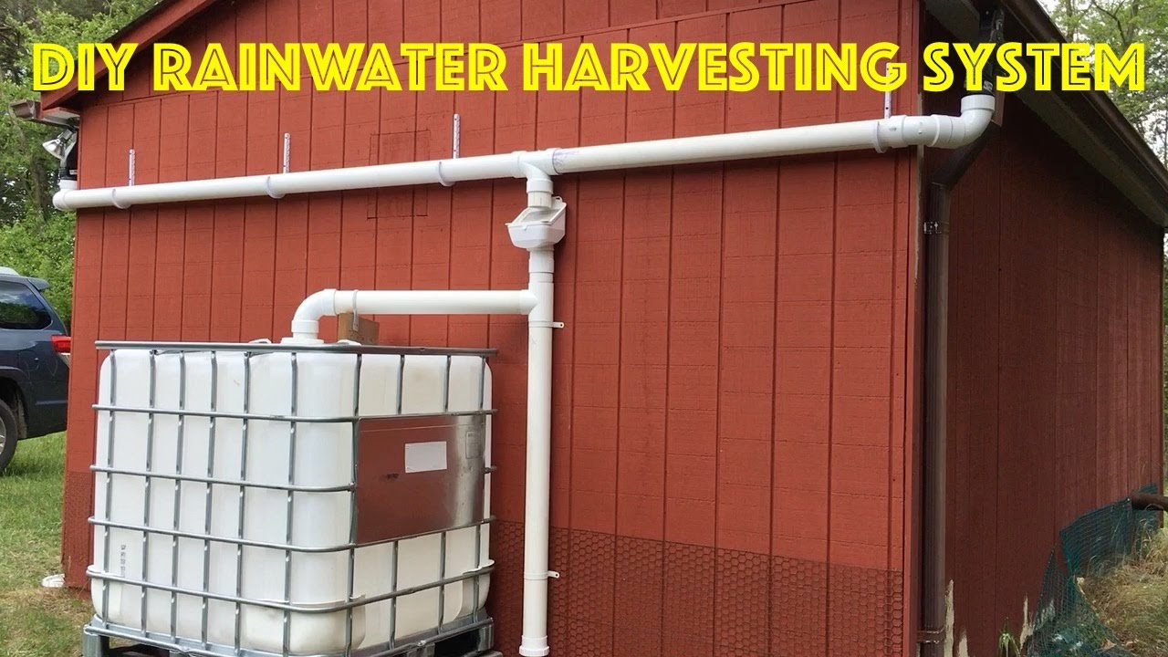 Diy rainwater harvesting system youtube for How to build a rainwater collection system