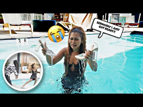 Making My Wife Get FULLY DRESSED And Then Throwing Her In The POOL! *she was furious*
