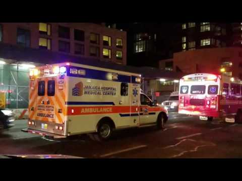 Jamaica Hospital Medical Center EMS On Scene Of A 5 Alarm Fire In Manhattan, New York