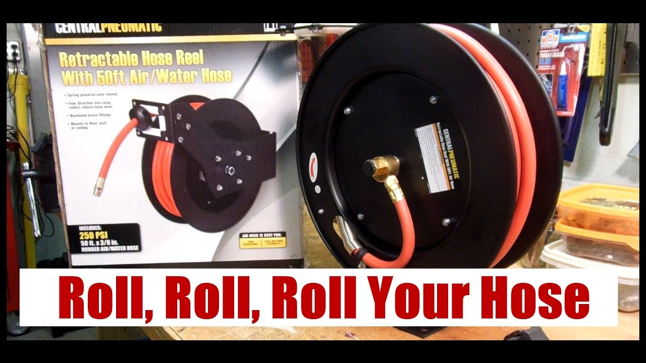 Harbor Freight 50 Ft Air Hose Reel Youtube