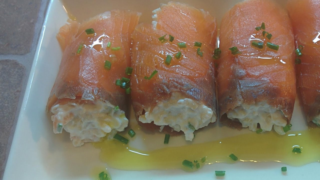 Rollitos de salm n ahumado rellenos youtube for Canape de salmon ahumado