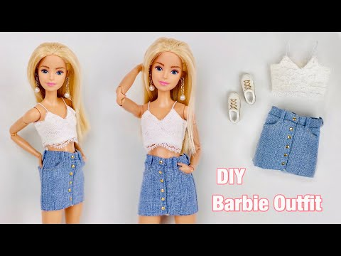DIY Barbie Doll Clothes! Denim Skirt + Crop Cami Top! How To Make Trendy Clothes For Barbie Dolls💕