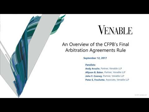 An Overview of the CFPB's Final Arbitration Agreements Rule