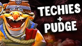 ТЕКИС + ПУДЖ В ИГРЕ ДОТА 2 - TECHIES + PUDGE DOTA 2