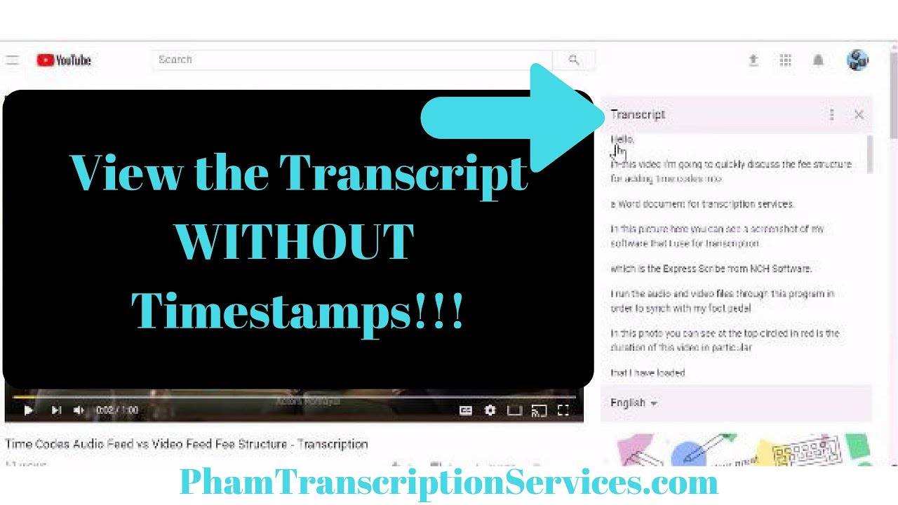 View YouTube Video Transcript (closed caption) without time codes (toggle  timestamps)