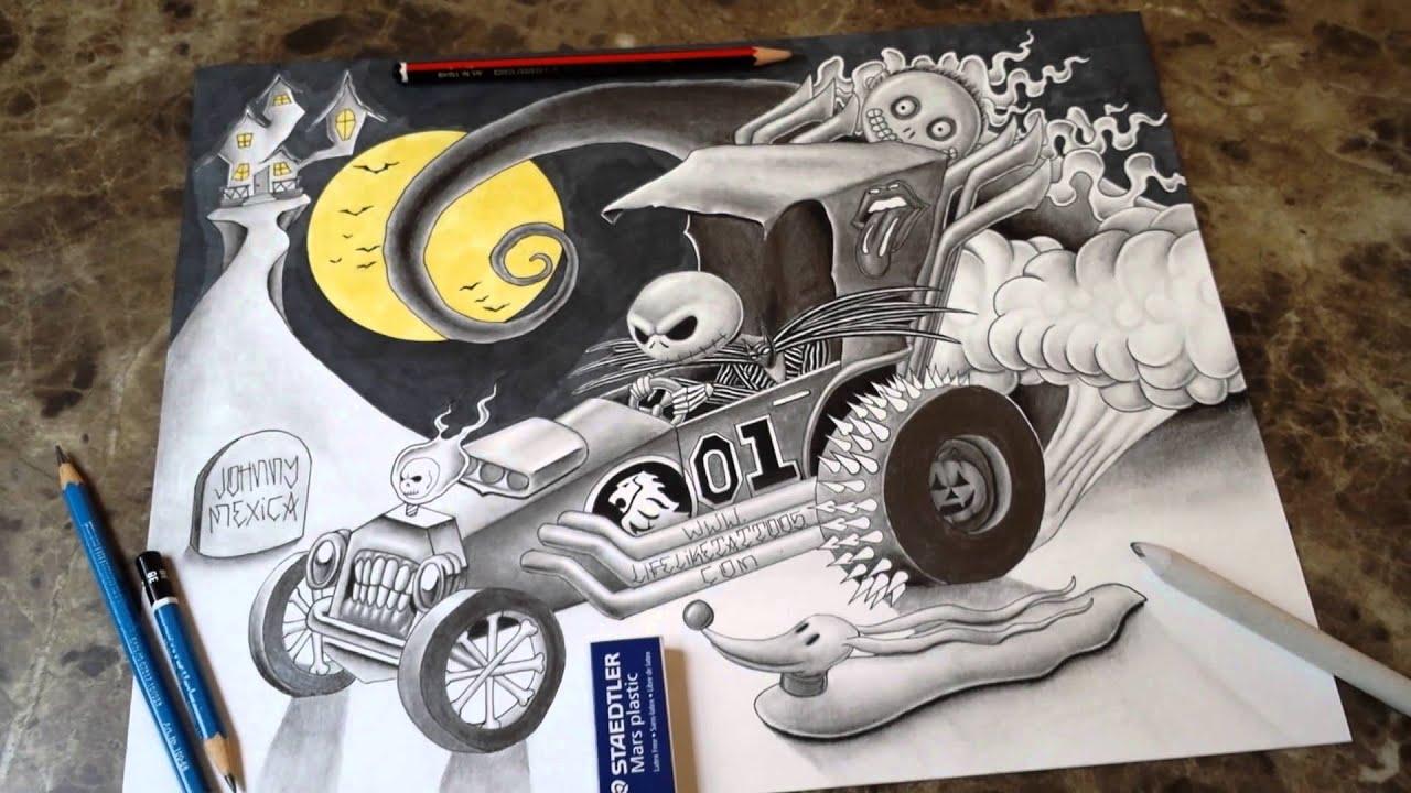 Jack Skellington In Hot Rod Pencil Drawing