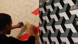 شرح بالفيديو لكيفية تطبيق قالب 3d على الجدار