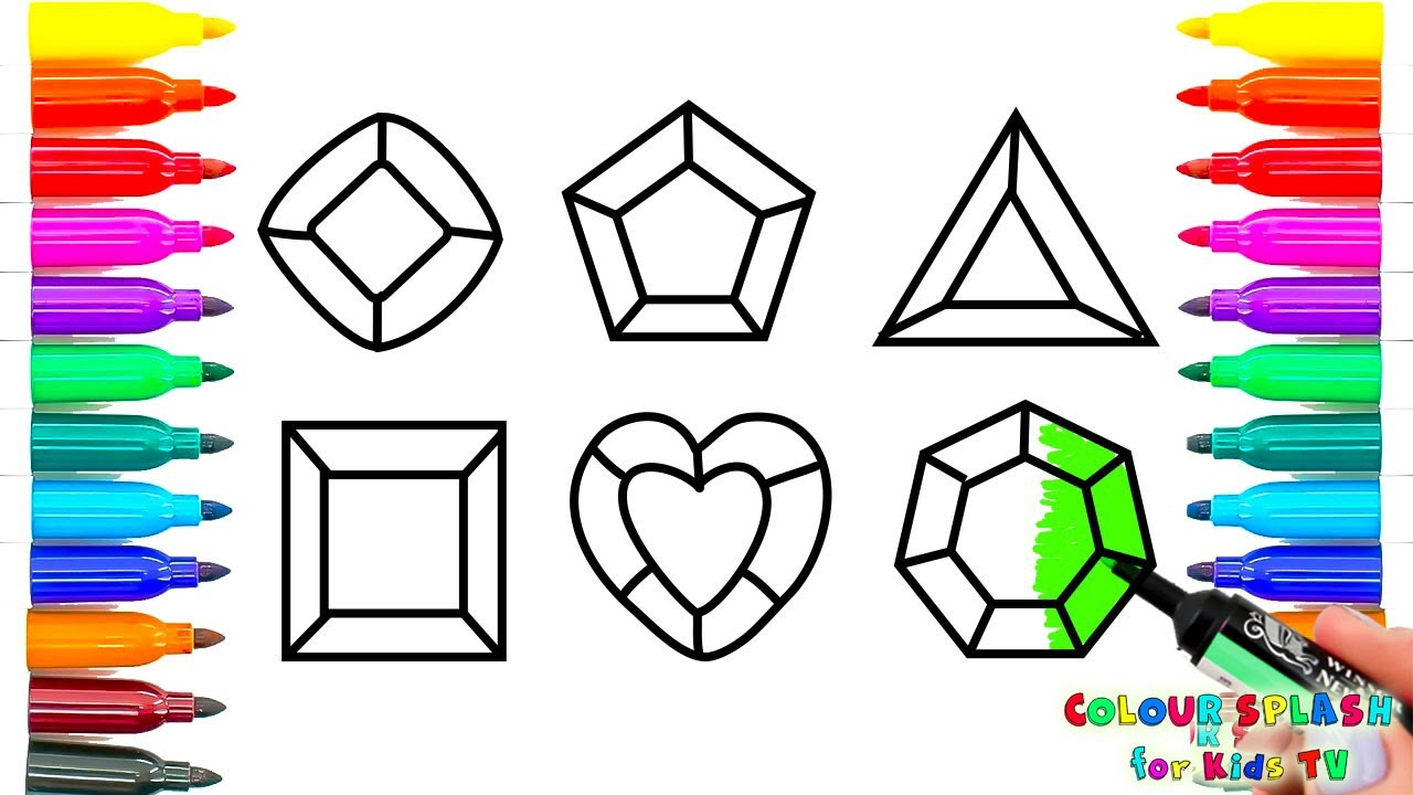 Crystals Jems Diamond Coloring Pages l How To Draw and ...