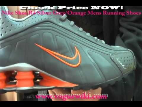 7bd78545a5150a Nike Shox R4 Silver Grey with Orange Mens Running Shoes Voguewiki - YouTube