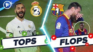 Real Madrid-Barça (2-1) : Benzema illumine le Clasico, Dembélé et Messi ratent tout | Tops et Flops