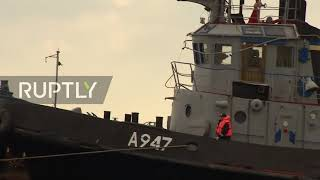 Russia: Ukrainian military ships seized in Kerch Strait tugged towards handover site