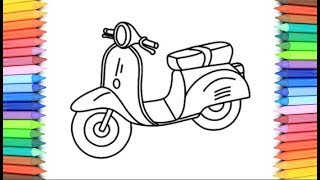 How To Draw A Scooter for Kids 💙💜💖 Scooter Drawing and Coloring Pages for Children