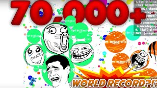 TYT Clan 70.000 MASS Agario Gameplay // World Record Highscore??