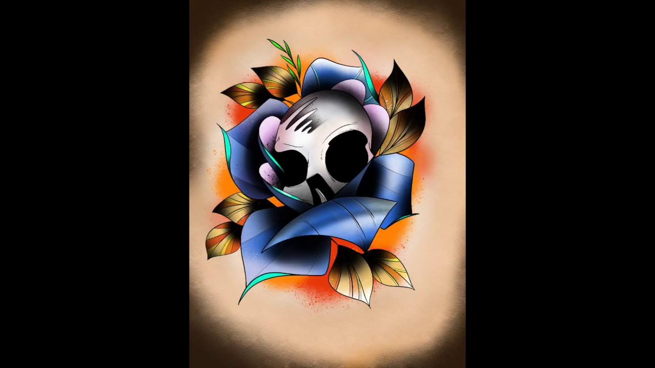 Character Design Ipad App : Skull rose tattoo design with ipad pro and procreate app