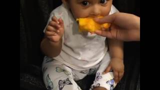 Shakib's daughter having mango for the first time