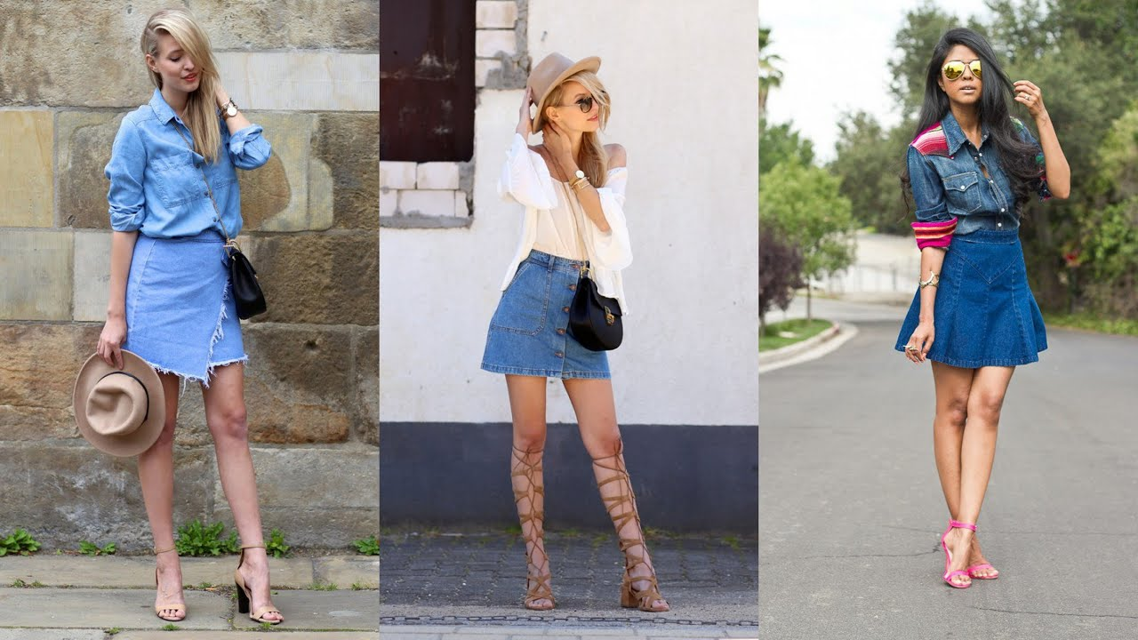 15 Ways to Wear a Denim Skirt - YouTube