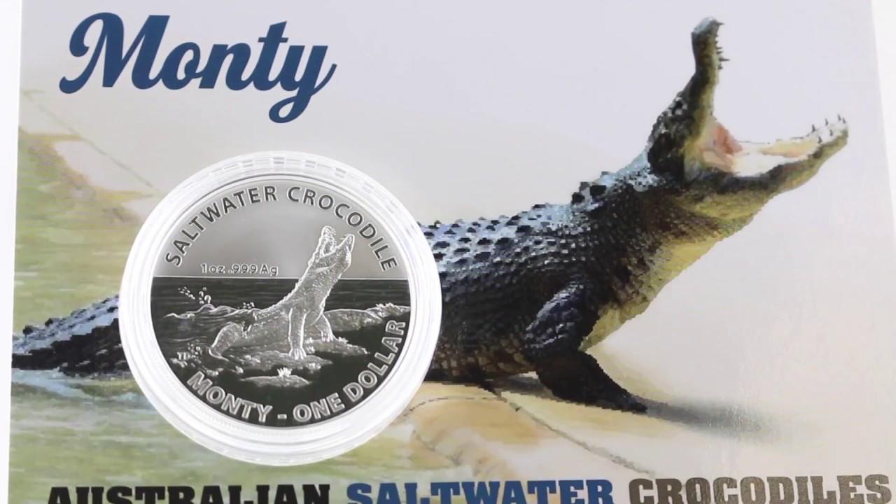 "1 oz 2016 /""Monty/"" Saltwater Crocodiles Australia 1 Dollar Silver Frosted Coin"