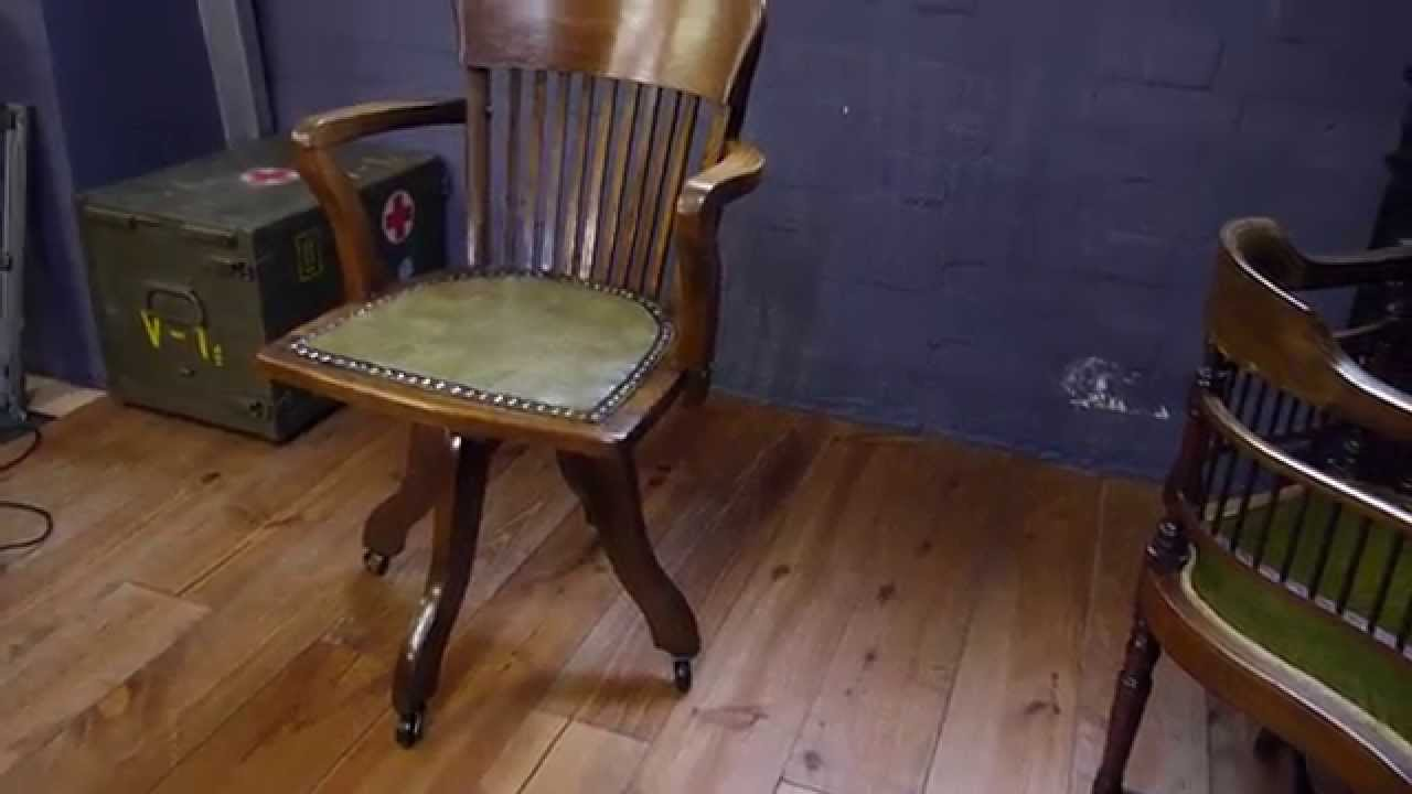 Oak Desk Chair Folding Lawn Chairs With Attached Side Table Antique Solid Captains Swivel - Youtube