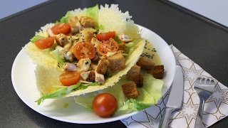 "Салат ""Цезарь"" в сырной тарелочке"