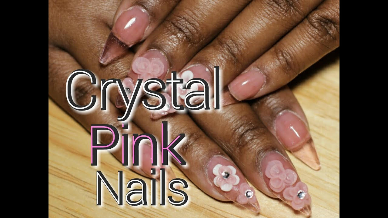 stiletto crystal pink acrylic nails